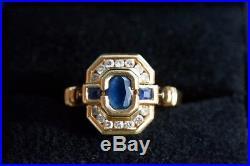 Bague ancienne sertie rail saphir diamants ronds pour 0.28 carats or jaune 18k
