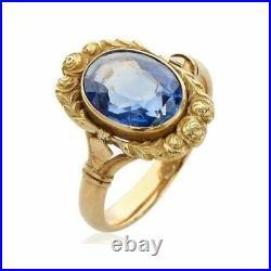 Bague ancienne vintage or jaune 18k tanzanite ring yellow gold