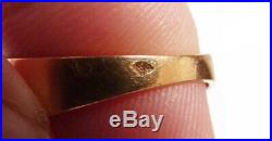 Bague chevalière OR massif 18k + grenat Bijou ancien gold ring garnet