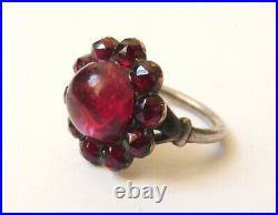 Bague en ARGENT et pierre rouge grenat Bijou ancien 19e siècle silver ring