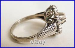 Bague en OR blanc massif 18k + diamants Bijou ancien gold ring diamonds