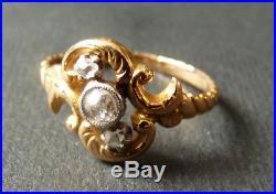 Bague en OR massif 18k + diamants Bijou ancien gold ring diamond 00