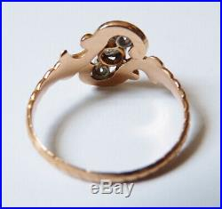 Bague en OR massif 18k + diamants Bijou ancien gold ring diamond