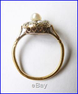 Bague en OR massif 18k + perle+ diamants Bijou ancien gold ring 19e siècle 00