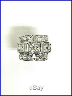 Bague en or blanc 18 carats style ancien art déco avec diamants