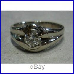 Bague jonc ancienne d'origine ART DECO en platine et diamant pour H ou F