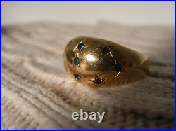 Bague jonc ancienne en or 18 carats etoile rubis saphir emeraude T58
