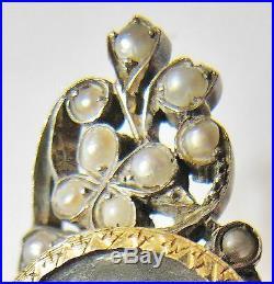 Bague marquise ancienne 18ème, or et argent avec miniature et perles fines