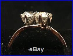 Bague or 18ct sertie de deux diamants taille ancienne
