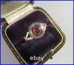 Bague ronde ancienne Art Déco pierre rouge Or 18 carats French gold ring 750