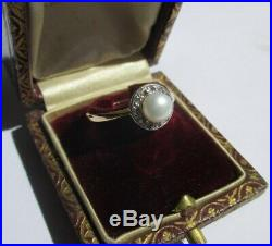 Bague ronde ancienne Perle diamants Gold ring or 18 carats 750