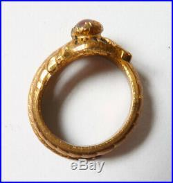 Bague serpent avec pierre saphiret Bijou ancien ring snake vers 1900