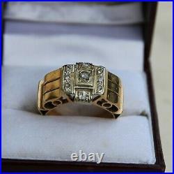 Bague style tank or jaune 18 carats et diamants ancienne