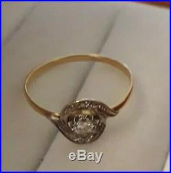 Bague tourbillon Or 18k Et Diamant 0.17 k ancienne taille 57