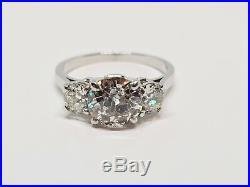 Bague trilogie ancienne Platine 850/1000 3 Diamants 2 carats 3.60 grammes