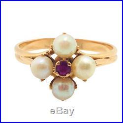 Bague vintage ancienne or jaune 18k perles rubis yellow gold 18 carat pearl ruby