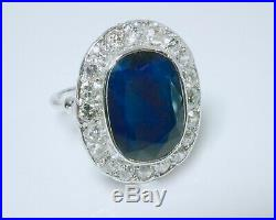 Baguepompadour 1930 Or Gris 18k Saphir Et Diamants Taille Anciennes 1ct60