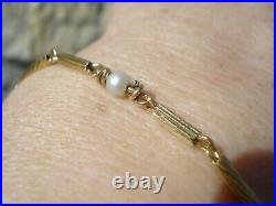 Beau Petit Bracelet Ancien En Or Jaune 18 K / Perles Veritables
