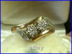 Belle Bague Ancienne Toi & Moi En Or Jaune & Gris Diamants 18k Tête D'aigle