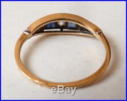 Belle bague OR massif 18k + diamant + saphir Bijou ancien alliance gold ring