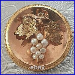Belle broche ancienne or 18 K grappe de raisin perles fine