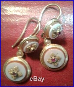 Bijou ancien-paire de boucle d oreille dormeuses en or