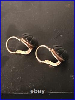 Bijoux deuil anciens XIX Boucles d'oreilles dormeuses perles jais monture Or 18k