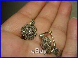 Boucles D Oreilles Anciennes En Or Et Diamants Taille Roses XIX