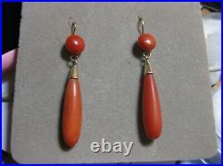 Boucles D'oreilles Or Et Corail Anciennes