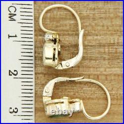 Boucles d'Oreilles en OR EMERAUDE et DIAMANT Dormeuses style Anciennes Pendantes