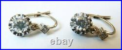 Boucles d'oreille dormeuses OR + diamant gold diamond earrings Bijou ancien