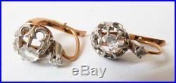 Boucles d'oreille dormeuses OR massif + diamant ancien gold earrings diamond