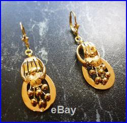 Boucles d oreilles ancienne or jaune 18 carats poincon tete d aigle