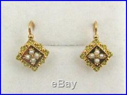 Boucles d'oreilles anciennes dormeuses or 18 K = 750 petites perles Impeccables