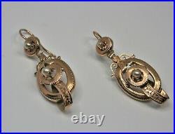 Boucles d'oreilles anciennes or 18 carats 19ème siècle