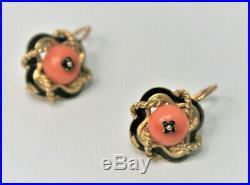 Boucles d'oreilles anciennes or 18 carats corail dormeuses 19ème siècle