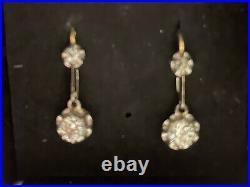 Boucles d oreilles anciennes or 18K serties de diamants poincon tete d aigle