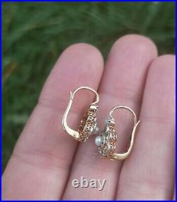 Boucles d'oreilles dormeuses anciennes or 18 carats diamants perles or 750 18K