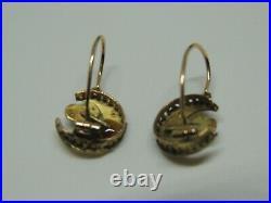 Boucles d'oreilles dormeuses anciennes or 18 carats et turquoises