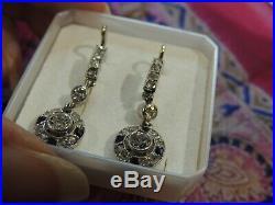 Boucles d'oreilles dormeuses anciennes or et diamants