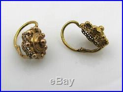 Boucles d'oreilles dormeuses anciennes vers 1900 or 18 carats tête d'aigle
