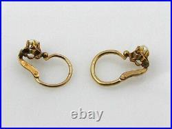 Boucles d'oreilles or 18 cts anciennes dormeuses enfant demi-perles TTB