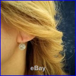 Boucles d'oreilles or jaune 14 kt. DIAMANTS écussons Style Anciens D'époque