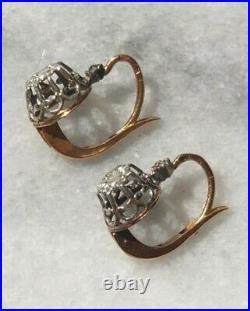 Boucles doreilles Dormeuses anciennes en Or 18 carats & Argent