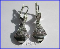 Boucles doreilles dormeuses anciennes Art Déco Diamant Or 18 carats platine