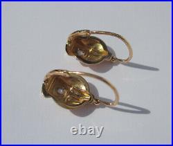 Boucles doreilles dormeuses anciennes Art Déco or rose 18 carats French 750