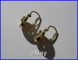 Boucles doreilles dormeuses anciennes Napoléon III Or 18 carats gold 750