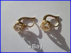 Boucles doreilles dormeuses anciennes Or rose 18 carats French gold 750