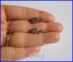 Boucles doreilles dormeuses anciennes Pierres blanches Or 18 carats et argent