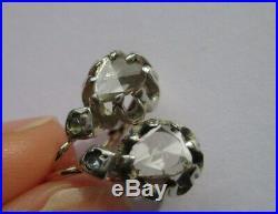 Boucles doreilles dormeuses anciennes XIX Diamant Or 18 carats 750 & argent